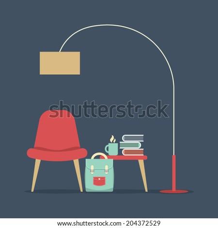 Modern Design Interior Furniture Vector Illustration - stock vector