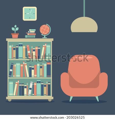Modern Design Interior Sofa And Book Cabinet  - stock vector