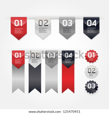Modern Design Labels / can be used for infographics / numbered banners / graphic or website layout vector/Horizontal - stock vector