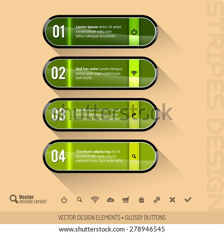 Modern design layout. Four glossy buttons. Vector elements. - stock vector