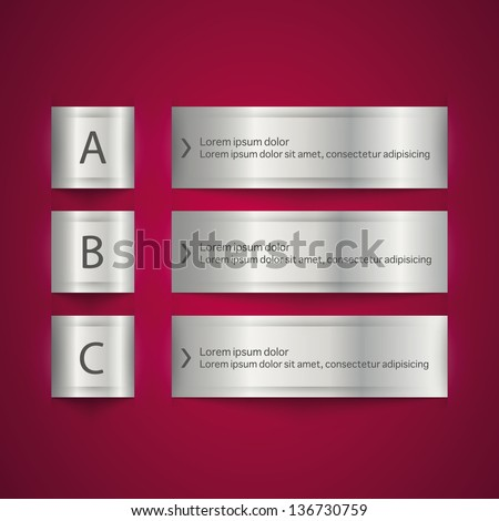 Modern design metal origami style step up options numbers banner template. Vector illustration - stock vector