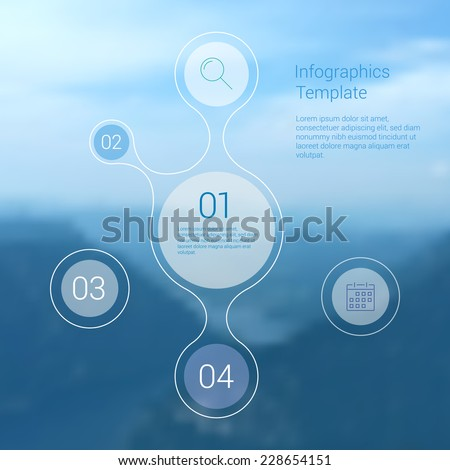 Modern Design Minimal style infographic template layout. Infographics, graphic or website layout vector with icons on blurred background. Landscape background. - stock vector
