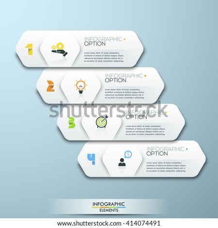 Modern Design Minimal style infographic template with alphabet, can be used for infographics, numbered banners, horizontal cutout lines, graphic or website layout vector - stock vector