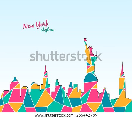Modern design New York city skyline. Travel to New York Poster. Can be used for photo album, notepad cover, wallpaper, web page background. Vector illustration - stock vector