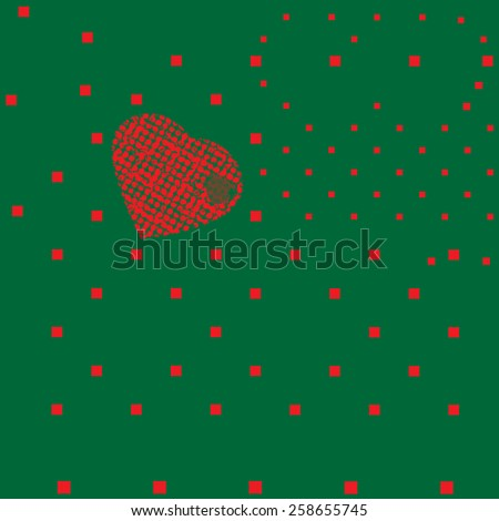 Modern design of a red hearts shape hotbox. Green background           - stock vector
