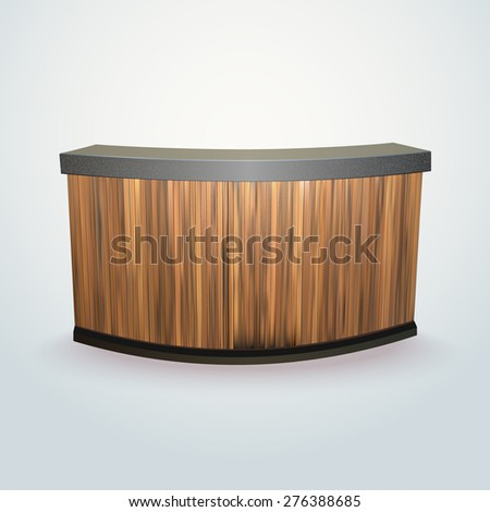 modern design office reception or bar counter, made of separate planks easy to edit - stock vector