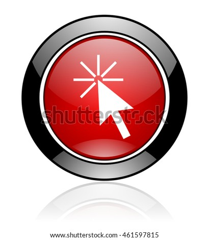 Modern design red and black round glossy click here vector icon