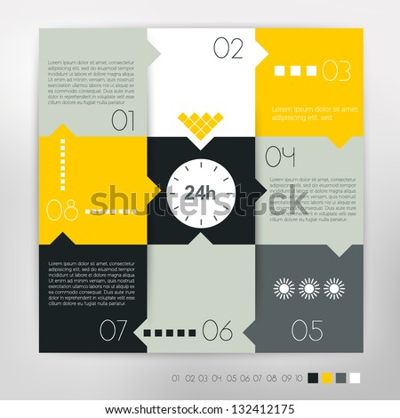 Modern design speech  diagram for infographic. Vector numbered banners template in yellow colors. - stock vector