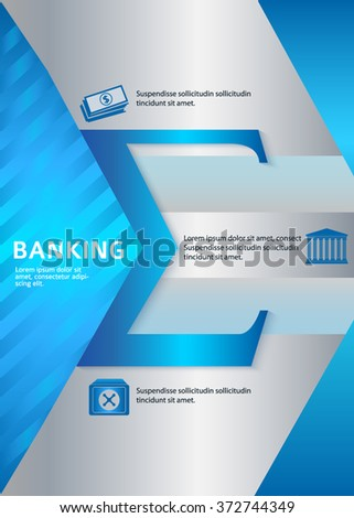 Modern Design style infographic template. Illustration of different kinds of banking. Can be used for infographics and typography, chart process the bank, business service steps options