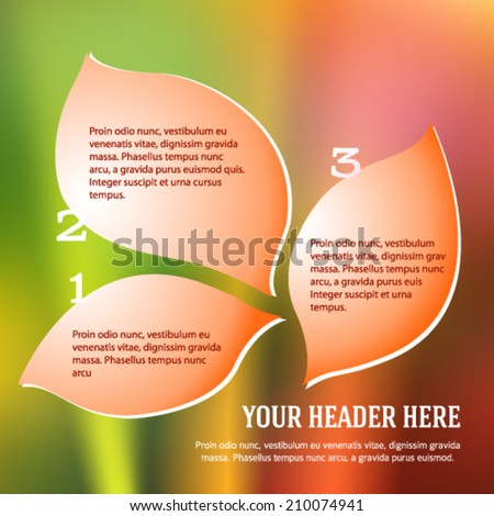 Modern Design style infographics template on blur floral background with copy space place for your text. Vector illustration EPS 10 for page layout catalog spa / wellness products flyer