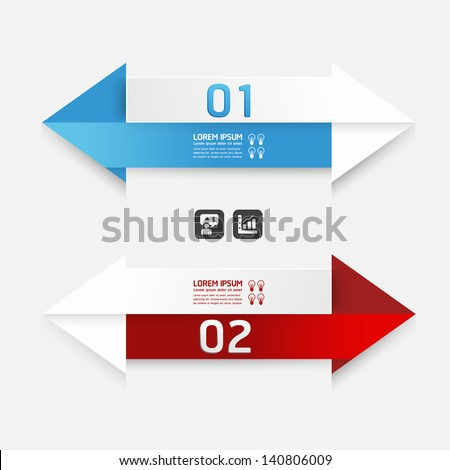 Modern Design template arrow style/ can be used for infographics / numbered banners / horizontal cutout lines / graphic or website layout vector - stock vector