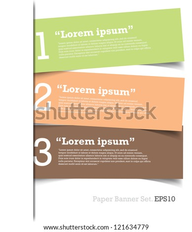 Modern Design template papers number banners for info-graphic or website.vector - stock vector