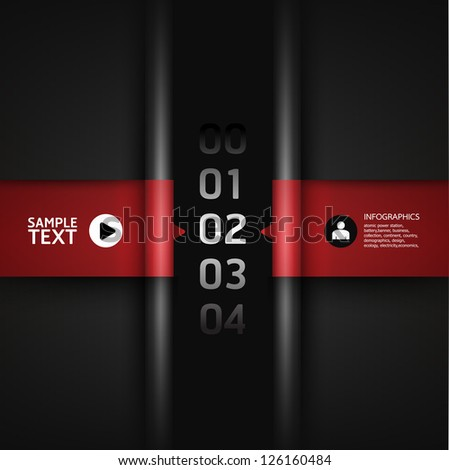 Modern Design template red colour / can be used for infographics / numbered banners / horizontal cutout lines / graphic or website layout vector