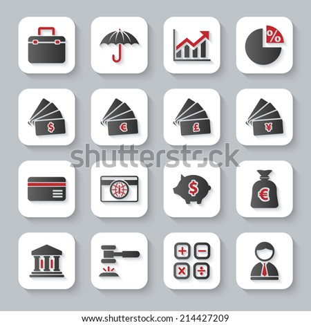 Modern design vector illustration flat icon set with long shadow style of banking, law and money objects. Isolated on gray background. - stock vector