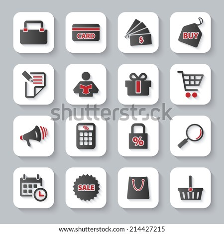 Modern design vector illustration flat icon set with long shadow style of shopping objects. Isolated on gray background.