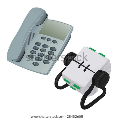 Modern Desk Phone and Rolodex Organiser Vector - stock vector