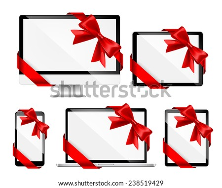 Modern devices with red ribbons and bows isolated on white. Vector illustration - stock vector