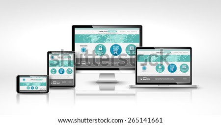 Modern devices with web design template. Vector concept  - stock vector