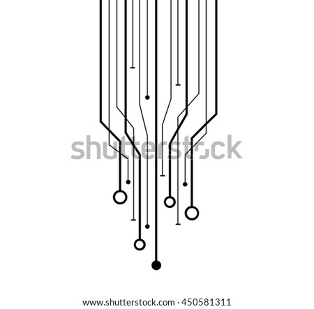 Modern digital data network with lines and circles - stock vector