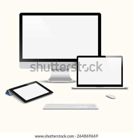 Modern Digital devices. Vector set - stock vector