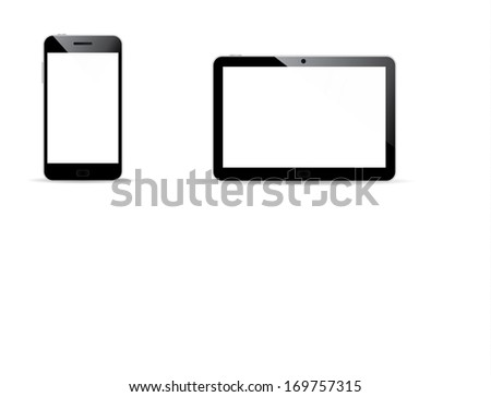 Modern digital tablet PC with mobile smartphone isolated on white - stock vector