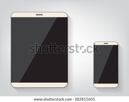 Modern digital tablet PC with mobile smartphone isolated on white. Vector EPS10 - stock vector