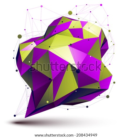 Modern digital technology style. Purple abstract unusual asymmetric figure isolated on white background, colorful vector technology complicated 3d object. - stock vector
