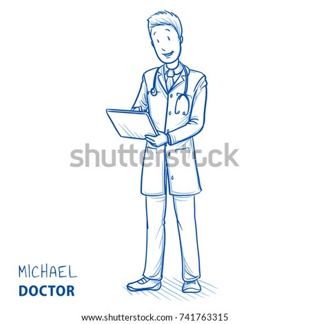 Modern Doctor In White Coat And Stethoscope Tapping On His Tablet Smiling Looking Happy
