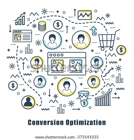 Modern doodle style illustration of Conversion Optimization Marketing.Creative line art design for Web Banner, Hero Images and Printed Materials. - stock vector