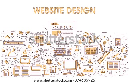 Modern doodle style illustration of Website Design and Development, Creating Webpage.Can be used as Web Banner, Hero Image and Printed Material. - stock vector