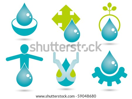 modern drop sign collection - stock vector
