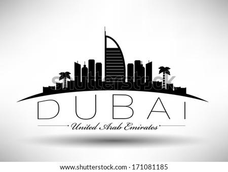 Modern Dubai City Skyline Design - stock vector