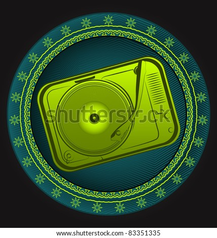 Modern dynamic music designed vector emblem. Gramophone. - stock vector