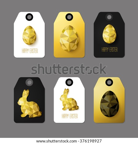 Modern easter cards readytouse gift tags stock vector 376198927 modern easter cards ready to use gift tags in black gold and negle Image collections