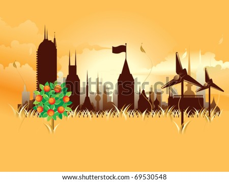 modern ecological metropolis eps8 - stock vector