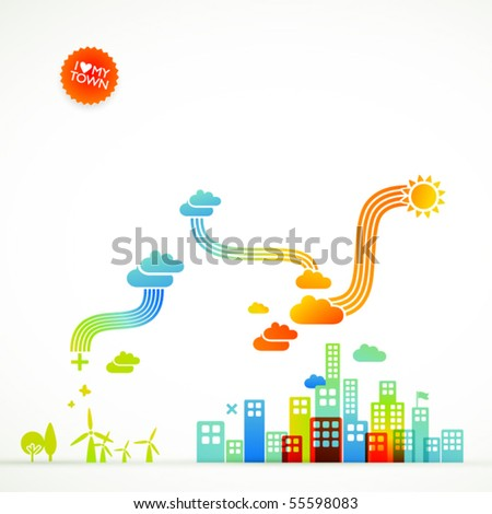 modern ecological town illustration