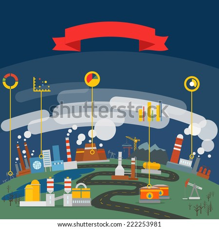 Modern ecology and industrial infographic template - stock vector