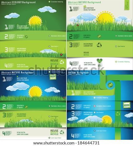 Modern ecology design template, collection - stock vector