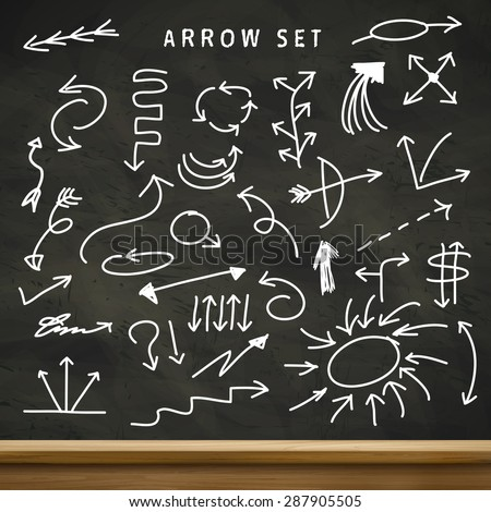 modern education concept arrows set isolated on blackboard - stock vector