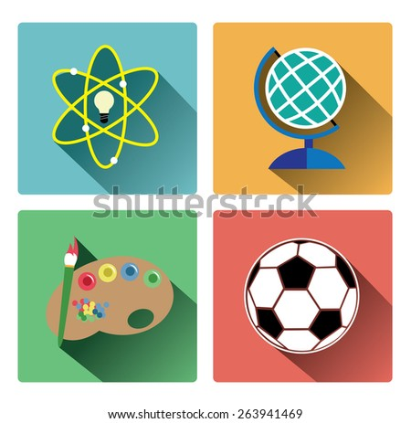 Modern education subject icons set - stock vector