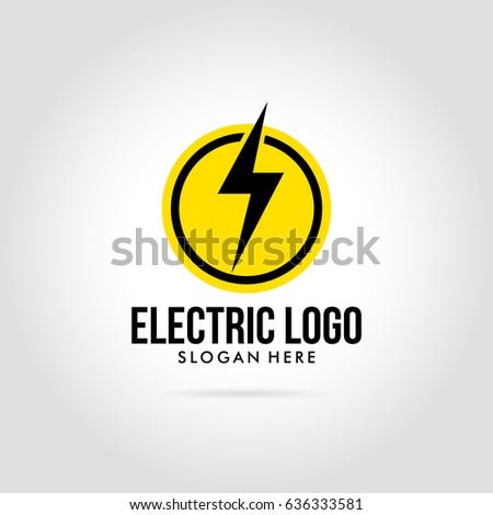 Modern Electric Logo With Lightning Vector Illustration