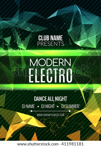 Modern Electro Music Party Template, Dance Party Flyer, brochure. Night Party Club Banner Poster - stock vector