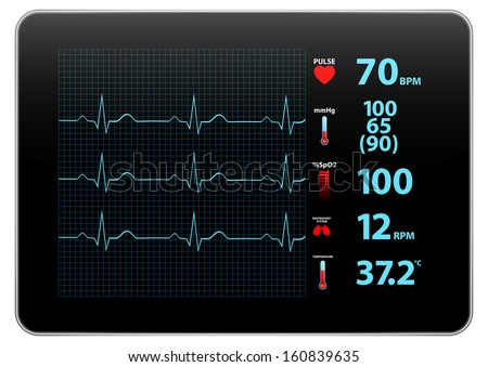 Modern Electrocardiogram Monitor Device Display - stock vector