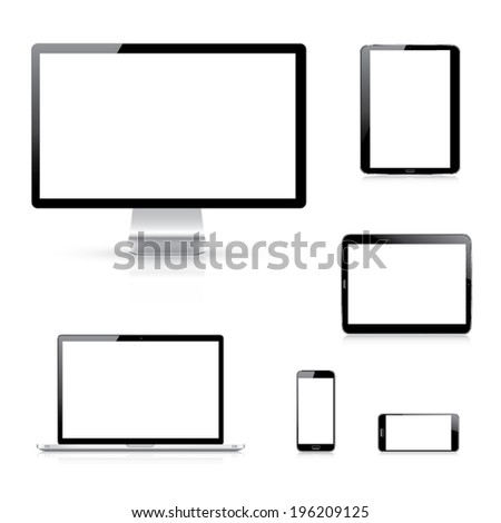 Modern electronic devices vector eps10 illustration isolation on white background - stock vector
