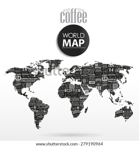 Modern elements info graphics coffee typographic vector de coffee typographic world map gumiabroncs Gallery