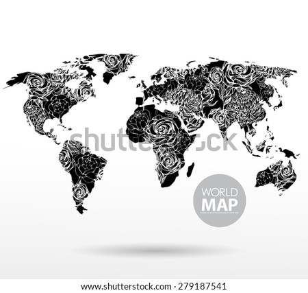 Modern elements of info graphics. Flowers World Map  - stock vector