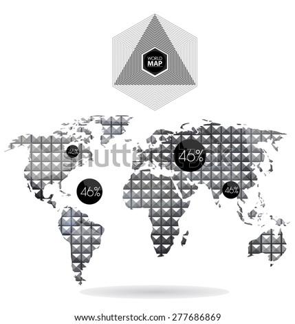 Modern elements of info graphics. Polygonal, mosaic World Map  - stock vector