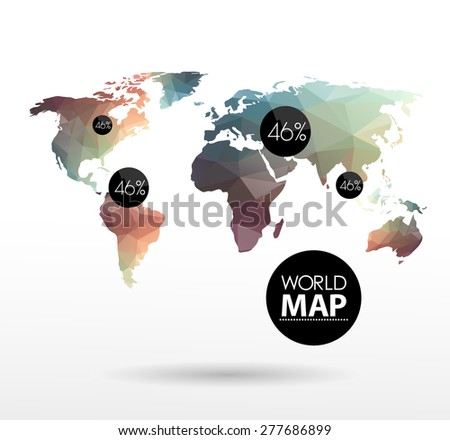 Modern elements of info graphics. Polygonal, mosaic World Map  - stock vector