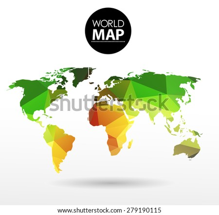 Modern elements of info graphics. Polygonal, mosaic World Map