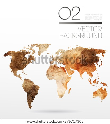 Modern elements of info graphics. Watercolor, paper World Map  - stock vector
